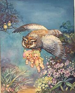 Artist Peg Maltby signed ORIGINAL watercolor gouache 8x10 painting Fairy Pixie