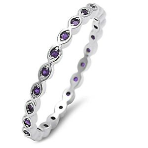 White Gold Finish Amethyst Round Stackable Silver Eternity Ring