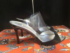 MANOLO BLAHNIK Black Patent Leather Clear PVC Sandals Pumps Heels SHOES 38 1/2