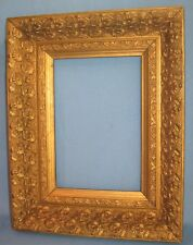 "ANTIQUE ORIGINAL GILDED FRAME HIGH RELIEF FLORAL CIRCA 1880 14 1/2"" X 11 1/2"""