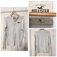 Hollister White Long Sleeve T Shirt Mens Slim Fit (C198)