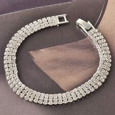 "Clear Rhinestone Bracelet 7.5"" Very Sparkly 3 Rows *Wedding Bridal"