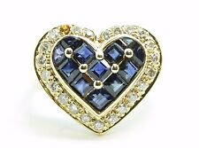 18K Solid Yellow Gold Sapphires & Diamonds Cocktail Ring Size 6.5