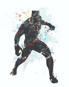Black Panther Avengers Marvel A3 Digital Watercolour Splash Effect Poster Print