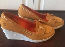 Timberland Women's Tan/white Nubuck leather Slip On Wedge Shoes loafers Sz 9M