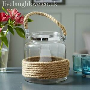 Large Rope Surround Glass Lantern With Rope Handle