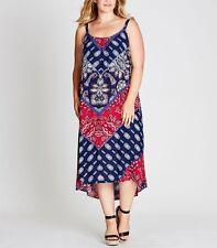 Plus Size Ladies Red & Blue Paisley Print Trapeze  Dress Size 18 - FREE POST