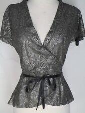 Diane von Furstenberg Black Silver Lace Wrap Top BLouse 10