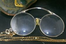Antique Eye Spectacles Glasses  With A Chain And Case Gold Filled.
