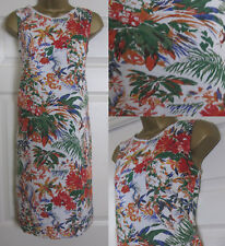 NEW M&S Tropical Floral Print Linen Blend Tunic Shift Dress Summer Ivory 8-22