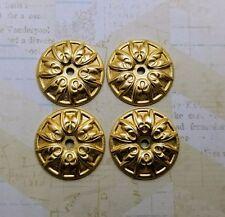 Raw Brass Ornate Art Deco Round Stampings  (4) - S3692