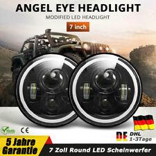 7 Zoll Halo Round LED Scheinwerfer Angle Eyes Blinker Weiß Für Jeep Wrangler JK