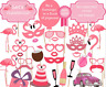 Let's Flamingo Birthday Party Photo Booth Props Wedding Pink Girl Lady