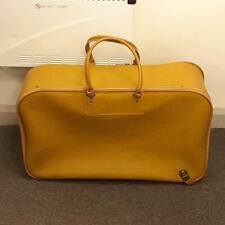 Vintage 1960s Luggage Bag Yellow Faux Leather w/ Locking Zip (no key) England