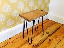 Rustic Oak side table stool with industrial metal hairpin legs, midcentury style
