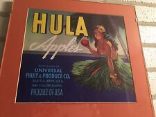 Hula Apples Fruit Crate Label Print Art Matted Plexiglass Ready To Hang