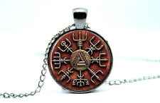 Viking Symbol - Vegvisir Viking, Runic Compass,Photo Glass Dome Necklace Pendant