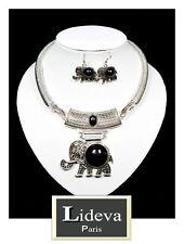 Set 2 Tlg Kabel Kette Ohrringe Schmuckset Halskette Elefant Versilbert Anhänger