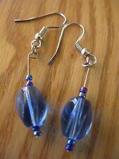 Blue beaded drop earring