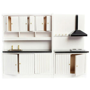 1:12 Dollhouse Miniature Luxury White Wood Kitchen Furniture Sink Stove CabYUKN