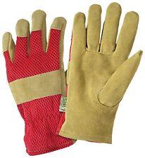 3 Pairs- Dirty Work Split Leather Palm Mesh Back Garden Gloves Women's Lg Pink