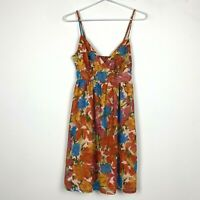 Portmans Womens Orange Floral Sleeveless Lined Dress with Side Zipper Size 8
