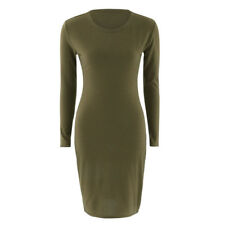 Autumn Spring Women Long Sleeve Lady Bodycon Sexy Slim Fit O-neck Casual Dress