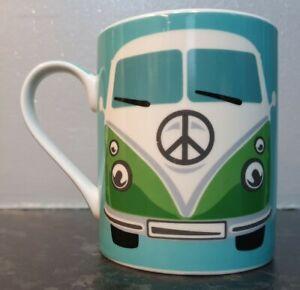 VOLKSWAGEN/VW CAMPER VAN - MUG - GREEN - VINTAGE/RETRO - FREE UK POSTAGE