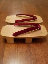 VINTAGE JAPANESE TRADITIONAL KIRI WOOD GETA SANDALS CLOGS VELVET STRAPS