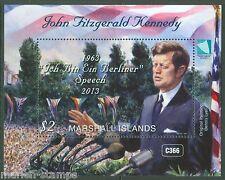 "MARSHALL ISLANDS 2013 JOHN F. KENNEDY ""ICH BIN EIN bERLINER SPEECH S/S  MINT NH"