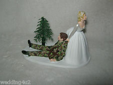 Wedding Party ~Bow & Arrow~  Camo Hunting Cake Topper Bride Dragging Hunter