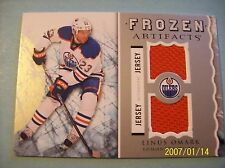 "12-13 UD Artifacts ""Frozen Artifacts"" # FA-LO Linus Omark Game-Used Jersey Card"