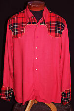 VERY RARE VINTAGE LATE 1940'S RED & PLAID GABARDINE WESTERN SHIRT SIZE LG