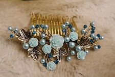 Gold  Bridal Hair Accessory Blue Rose Pearl, Hair Combs Home-coming Bride Maid