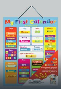 Large 32x40cm Magnetic My First Calendar All About Today Interactive Kids Chart