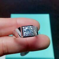 14K White Gold 2.10 Ct Round Cut Diamond Engagement Wedding Ring Band For Men's
