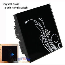 Free Shipping 1gang 2 way Crystal Glass Panel Touch Switch ON OFF Control 86mm