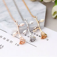 Delicate Rose Flower Pendant Necklace Beauty Rose Gold Silver Charm Jewelry Gift