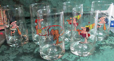 "6 Arby's 1981 B.C. Ice Age Collector Series Water Glasses Gary Hart 5.25"" Tall"