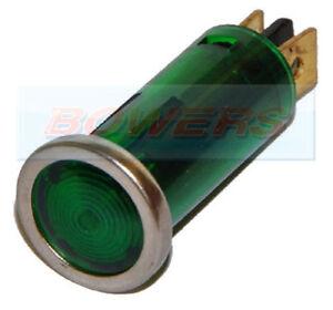 GREEN CHROME BEZEL DASH BOARD PANEL WARNING LIGHT 12V CLASSIC KIT CAR 12mm HOLE