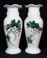 Victorian Antique Painted Milk Glass Vases c1880s