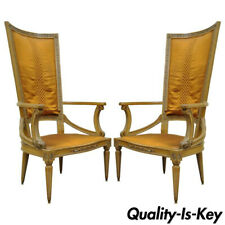 Pair of Tall Back Hollywood Regency Sculptural Arm Chairs after Dorothy Draper
