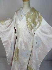 B28 Vintage Japanese Kimono Furisode Utikake Silk White Houou-bird Jimon Geisha