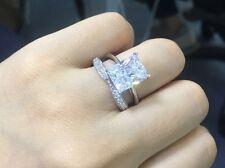 Certified 4.00Ct White Emerald Diamond Wedding Solitare Ring Set 14K White Gold