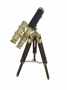 Handmade Solid Brass Telescope With Wooden Tripod Stand Vintage Pirate Scope