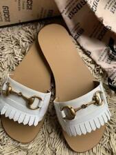 GUCCI Horsebit Fringe Sandals Mules Shoes White Leather Women's EU 37 From Japan