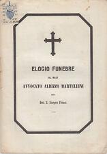 LIVORNO ELOGIO FUNEBRE AL BALÌ AVVOCATO ALBIZZO MARTELLINI DEL DOTT FABIANI 1855