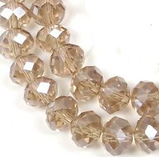 8x6mm Faceted AB Smoky Topaz / Champagne Glass Quartz Rondelle Beads 16""