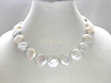 18-20mm white coin shape GENUINE CULTURED freshwater pearl necklace 18""