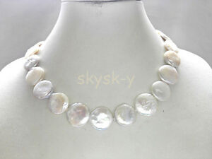 """18-20mm white coin shape GENUINE CULTURED freshwater pearl necklace 18"""""""